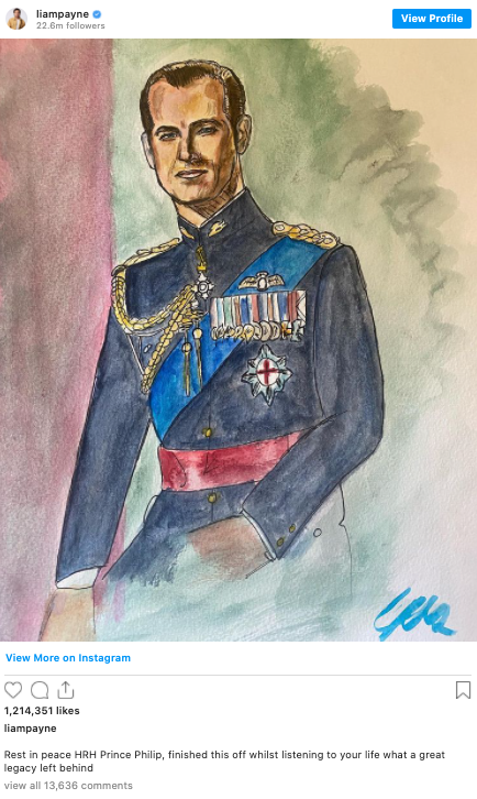 Liam Payne's watercolour painting of the late Prince Philip. Photo: Instagram/liampayne.