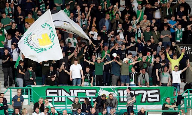 Soccer Football - Scottish Premiership - Hibernian v Celtic - Easter Road, Edinburgh, Britain - April 21, 2018 Hibernian fans during the match REUTERS/Russell Cheyne