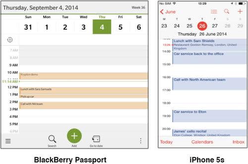Calendars on the BlackBerry Passport and iPhone 5s