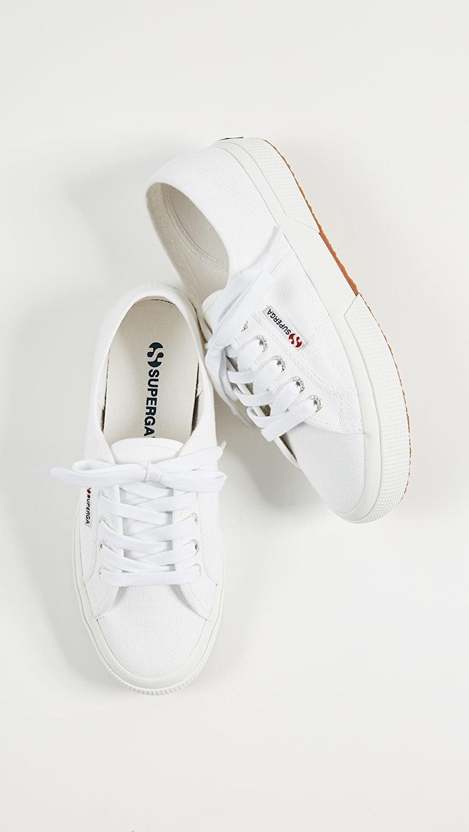 """<p><span>Superga 2750 Cotu Classic Sneakers</span> ($65)</p> <p>""""I love a good white leather sneaker, but a canvas pair is always good to have on hand too. Not only are they supereasy to throw on with anything from jeans to dresses in spring and summer, but they're easy to throw in the washing machine and clean, so you'll own them forever."""" - Krista Jones, associate editor, Shop</p>"""