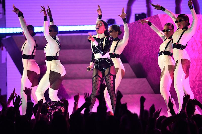 US singer-songwriter Janelle Monae brought her signature futurist blend of pop and psychedelic funk to the Grammys (AFP Photo/Robyn Beck)