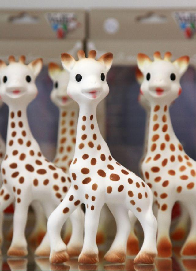 Sophie The Giraffe poses in Teri Weiss's shop in Beverly Hills, California