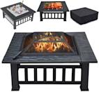 "<p>Keep drinks on ice, keep warm with a bonfire, or roast and grill your favorite meats and veggies right in front of you with this chic <span>Yaheetech Multifunctional 32"" Fire Pit Table</span> ($90).</p>"
