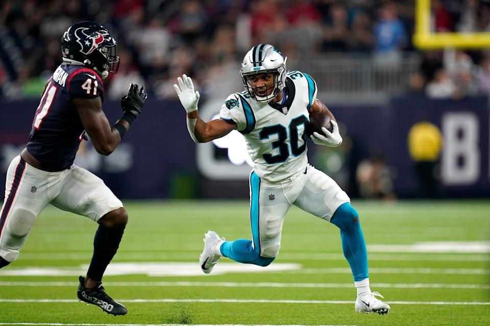 Rookie running back Chuba Hubbard was a fourth-round draft pick out of Oklahoma State. With Christian McCaffrey out for several weeks, Hubbard will take over as the Panthers' starter.