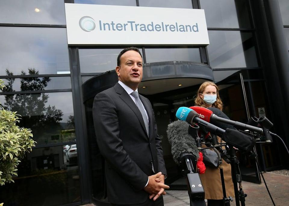 Tanaiste and Minister for Enterprise, Trade and Employment Leo Varadkar speaks to the media during a visit to InterTradeIreland's offices in Newry (Brian Lawless/PA) (PA Wire)