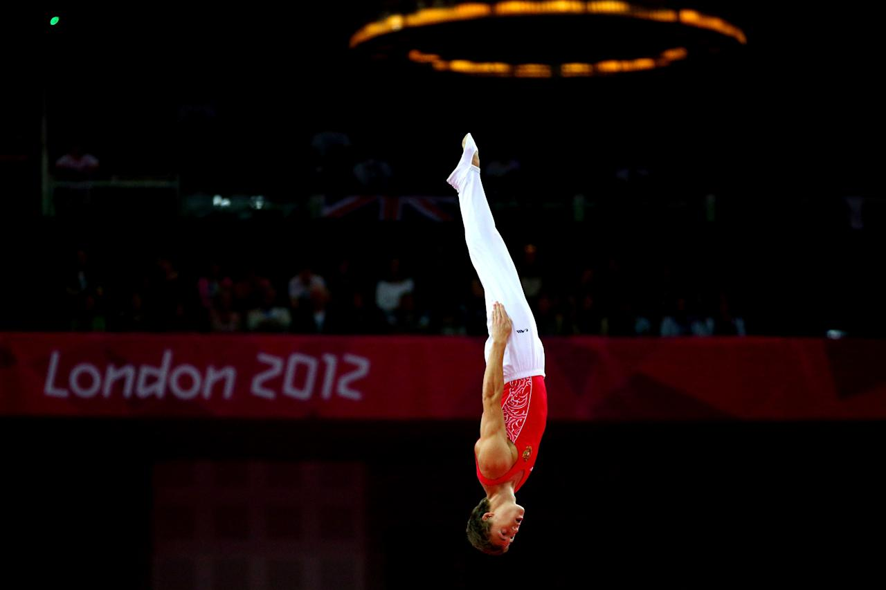 LONDON, ENGLAND - AUGUST 03:  Dmitry Ushakov of Russia competes on the Men's Trampoline during Day 7 of the London 2012 Olympic Games at North Greenwich Arena on August 3, 2012 in London, England.  (Photo by Cameron Spencer/Getty Images)