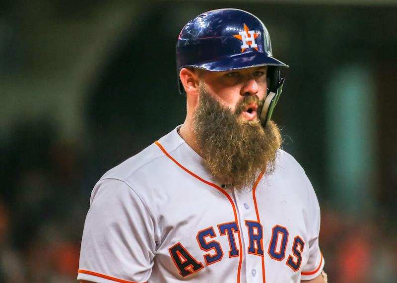Ex-Astros slugger Evan Gattis apologizes for sign-stealing scheme with series of profanities. (Photo by Leslie Plaza Johnson/Icon Sportswire via Getty Images)