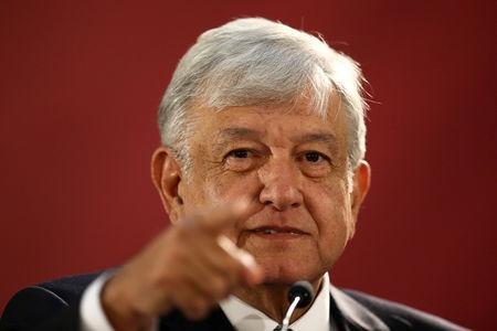 Mexico's new President Andres Manuel Lopez Obrador speaks as he holds a news conference at National Palace in Mexico City