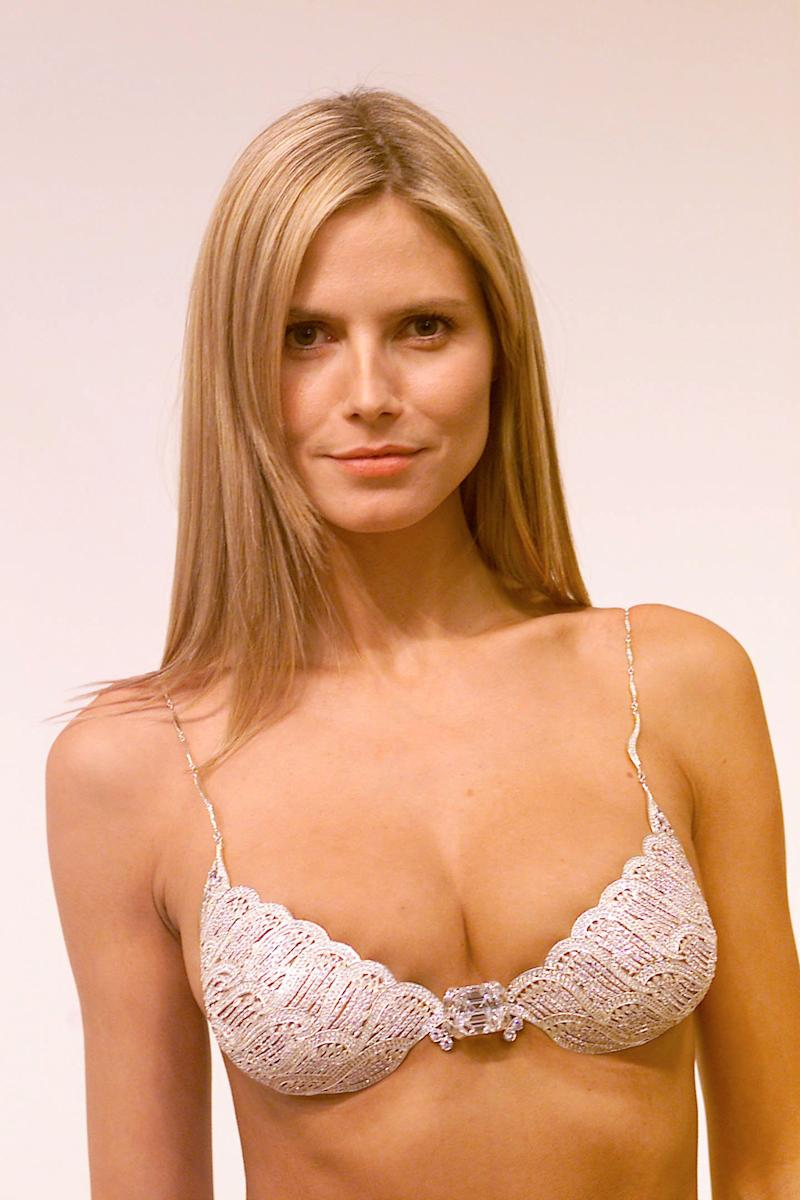 Victoria's Secret model fittings, in preparations for the Victoria's Secret 2001 Fashion Show (scheduled for Tuesday Nov. 13.) Pictured: Model Heidi Klum wearing the $12.5 million Fantasy Bra. New York City 11/12/2001. Photo: Evan Agostini/ImageDirect.