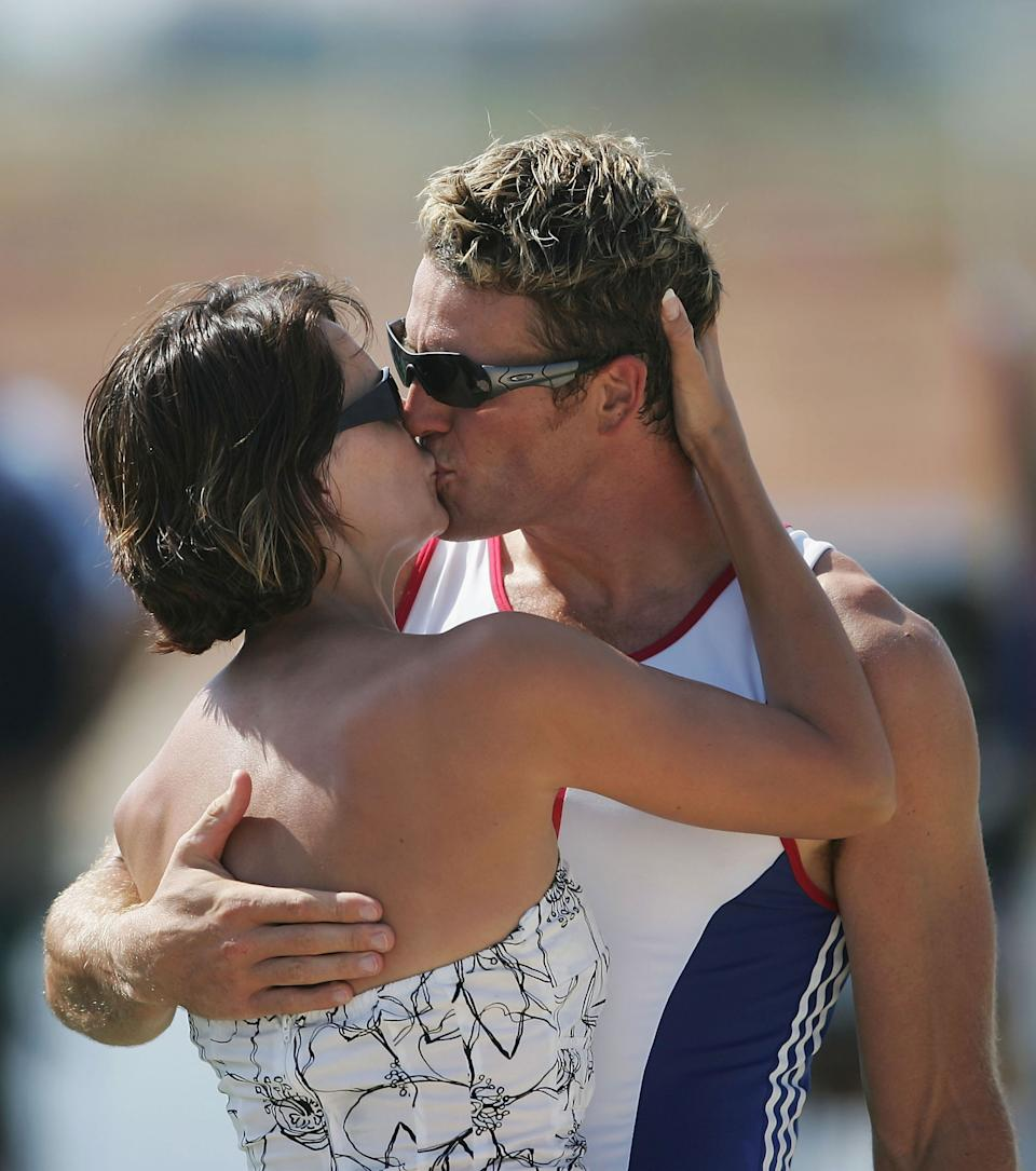 James Cracknell of Great Britain kisses his wife Beverly Turner after receiving his Gold medal for the men's four rowing event on August 21, 2004 during the Athens 2004 Summer Olympic Games at the Schinias Olympic Rowing and Canoeing Centre in Athens, Greece. (Photo by Shaun Botterill/Getty Images)