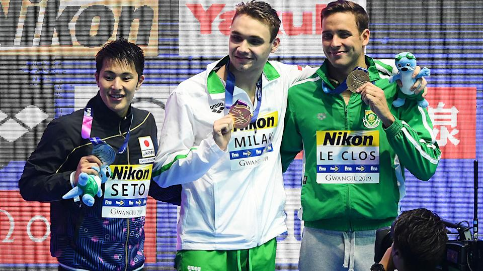 Daiya Seto, Kristof Milak and Chad le Clos with their medals after the 200m butterfly final. (Photo by Quinn Rooney/Getty Images)