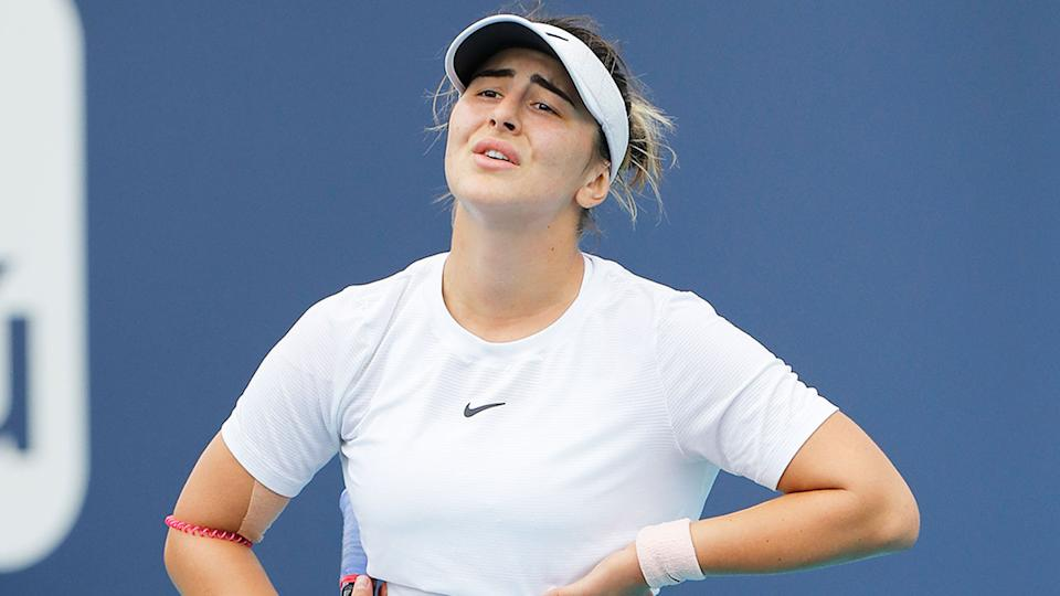 Bianca Anddreescu is seen here looking frustrated on court during a Miami Open match.
