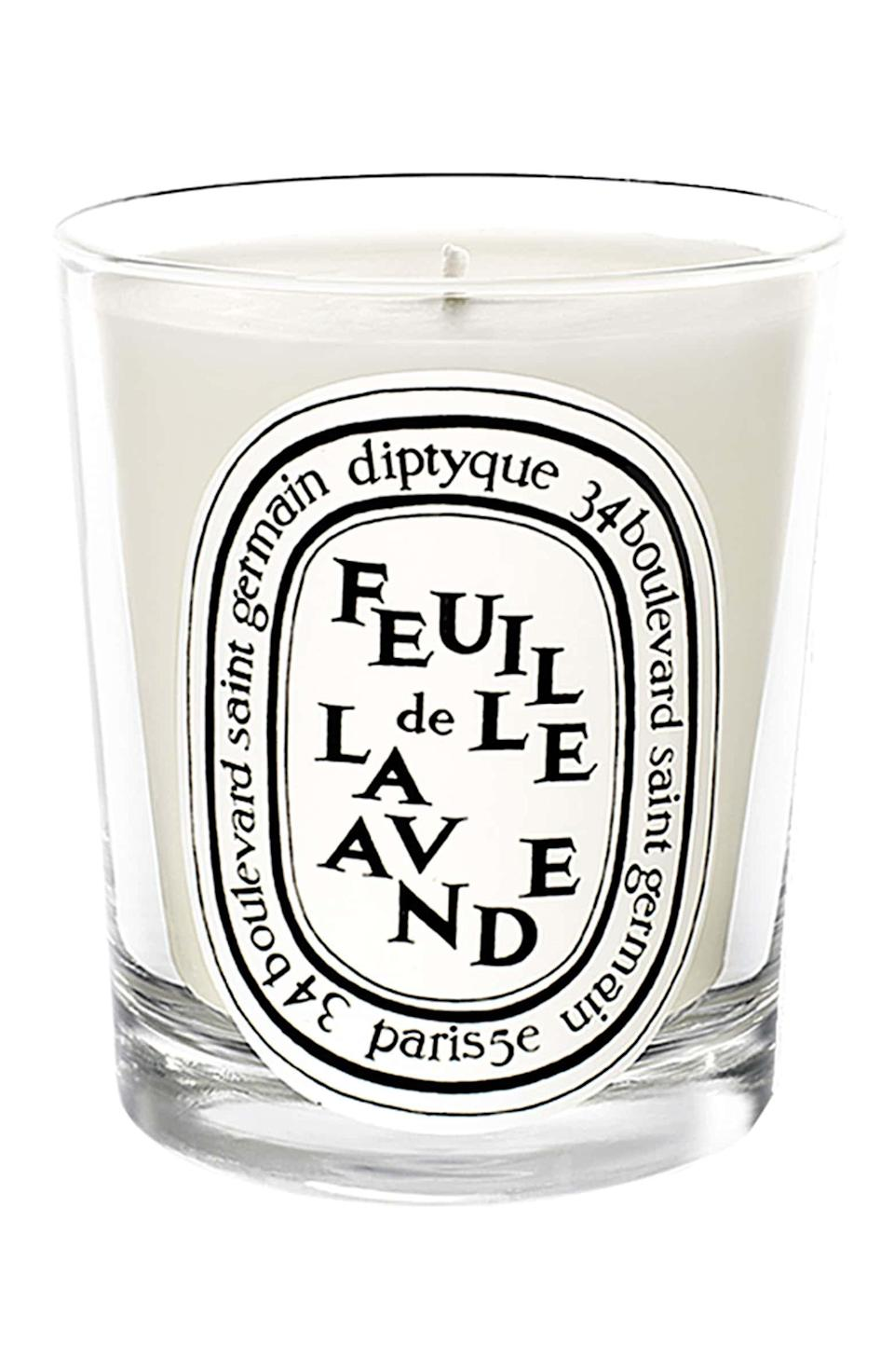 <p>Lavender is famous for being a calming scent. This <span>Diptyque Lavender Leaf Scented Candle</span> ($35) will make a welcome addition to any home, plus it's so nice to look at!</p>
