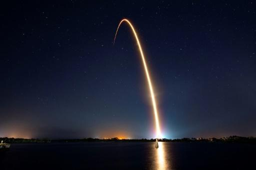 A Falcon 9 launching the Nusantara Satu satellite to orbit from Space Launch Complex 40 (SLC-40), carrying Israel's Beresheet spacecraft, at Cape Canaveral Air Force Station, Florida