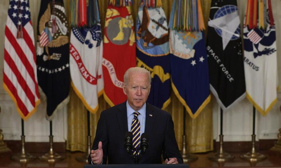 President Joe Biden briefs the press on military withdrawal from Afghanistan on 8 July