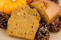 "<p>Nothing tastes quite like fall like a slice of freshly baked pumpkin bread. Plus, this paired down, healthy recipe means you can indulge in this seasonal treat whenever you're craving it.</p><p><strong><a href=""https://www.countryliving.com/food-drinks/recipes/a19056/healthy-pumpkin-bread-recipe/"" rel=""nofollow noopener"" target=""_blank"" data-ylk=""slk:Get the recipe"" class=""link rapid-noclick-resp"">Get the recipe</a>.</strong></p>"