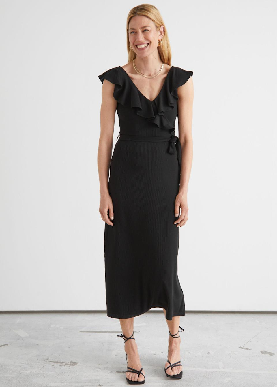"""The LBD will never go out of style—especially at just $59. $59, & Other Stories. <a href=""""https://www.stories.com/en_usd/clothing/dresses/midi-dresses/product.sleeveless-ruffle-neck-midi-dress-black.0974939001.html"""" rel=""""nofollow noopener"""" target=""""_blank"""" data-ylk=""""slk:Get it now!"""" class=""""link rapid-noclick-resp"""">Get it now!</a>"""
