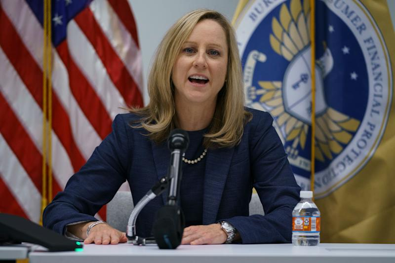 New Bureau of Consumer Financial Protection director Kathy Kraninger speaks to media at the Bureau of Consumer Financial Protection offices in Washington, Tuesday, Dec. 11, 2018. (AP Photo/Carolyn Kaster)