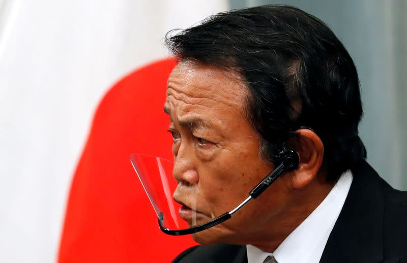 Japan's newly-appointed Finance Minister Taro Aso speaks at a news conference in Tokyo