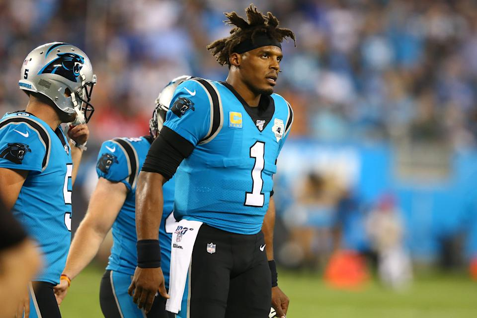 Sep 12, 2019; Charlotte, NC, USA; Carolina Panthers quarterback Cam Newton (1) walks off the field during the second quarter against the Tampa Bay Buccaneers at Bank of America Stadium. Mandatory Credit: Jeremy Brevard-USA TODAY Sports