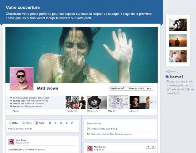 An example of Facebook's new Timeline profile