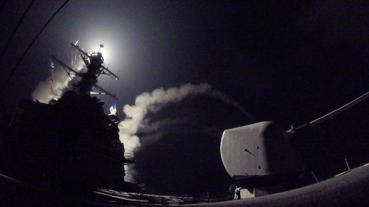The guided-missile destroyer USS Porter launches a tomahawk land attack missile in the Mediterranean Sea (U.S. Navy via AP)
