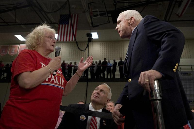 The moment John McCain defended his presidential campaign oponent Barack Obama after a woman referred to his as an Arab (AFP/Getty Images)