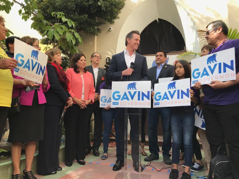 Gavin Newsom with supporters