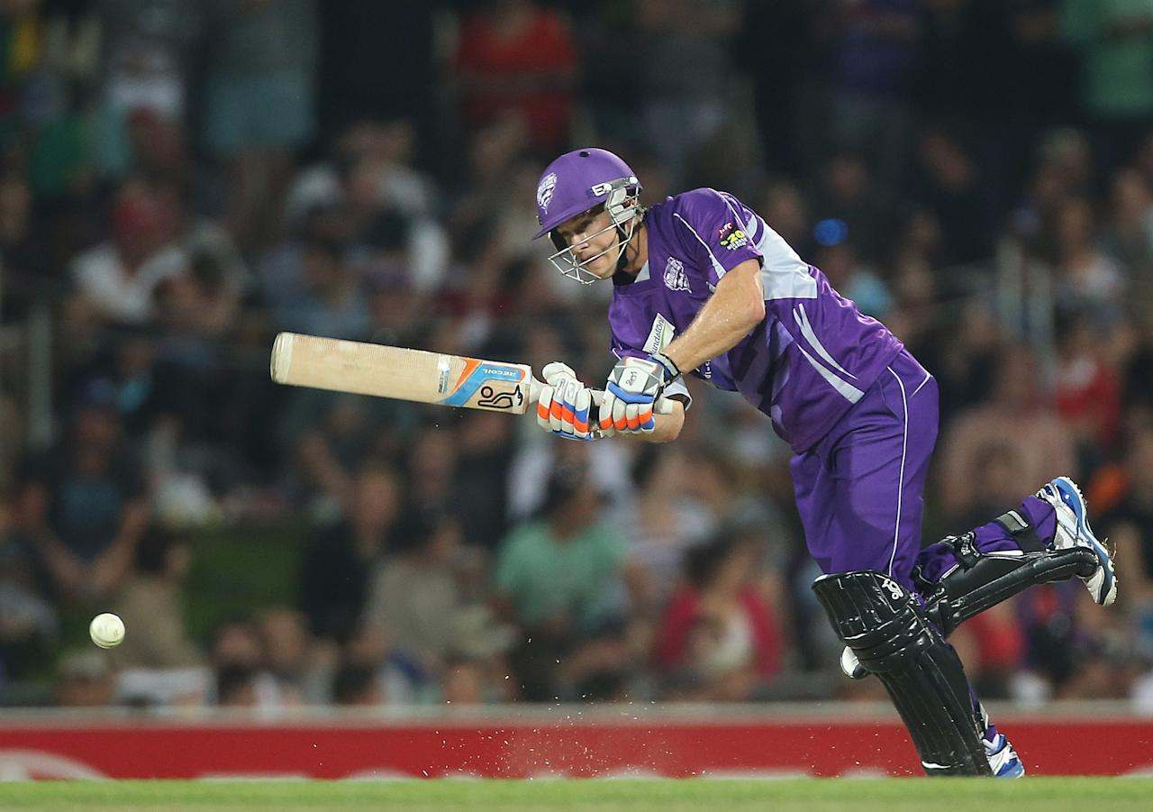 HOBART, AUSTRALIA - JANUARY 05:  Tim Paine of the Hurricanes bats during the Big Bash League match between the Hobart Hurricanes and the Adelaide Strikers at Blundstone Arena on January 5, 2013 in Hobart, Australia.  (Photo by Mark Metcalfe/Getty Images)