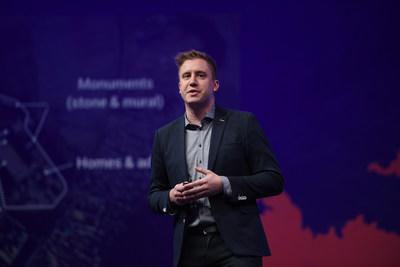 James Slifierz, SkyWatch CEO and co-founder, on stage at the 2019 Collision conference.