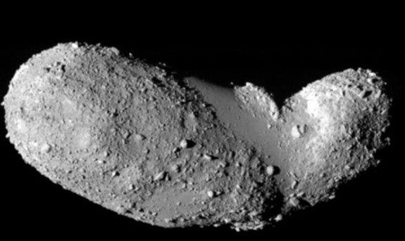 Named 25143 Itokawa, this asteroid is some 540 meters by 270 meters by 210 meters. Japan's robotic Hayabusa spacecraft rendezvoused with asteroid Itokawa in mid-September 2005 and studied the space rock's shape, spin, topography, color, composi