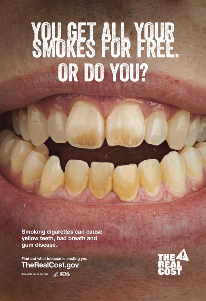 An anti-smoking poster issued by the U.S. Food and Drug Administration (FDA) is seen in an undated handout image. A major new anti-tobacco campaign will be launched in the United States next week aimed at vulnerable teenagers on the cusp of becoming addicted to cigarettes. The $115 million campaign by the Food and Drug Administration will target the 10 million people aged 12 to 17 who are open to trying cigarettes or who are already experimenting with them and are in danger of becoming regular smokers, the FDA said. REUTERS/FDA/Handout via Reuters (UNITED STATES - Tags: HEALTH POLITICS BUSINESS) ATTENTION EDITORS - FOR EDITORIAL USE ONLY. NOT FOR SALE FOR MARKETING OR ADVERTISING CAMPAIGNS. THIS IMAGE HAS BEEN SUPPLIED BY A THIRD PARTY. IT IS DISTRIBUTED, EXACTLY AS RECEIVED BY REUTERS, AS A SERVICE TO CLIENTS
