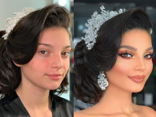 A makeup artist shares before and after photos that show how brides transform for their big day