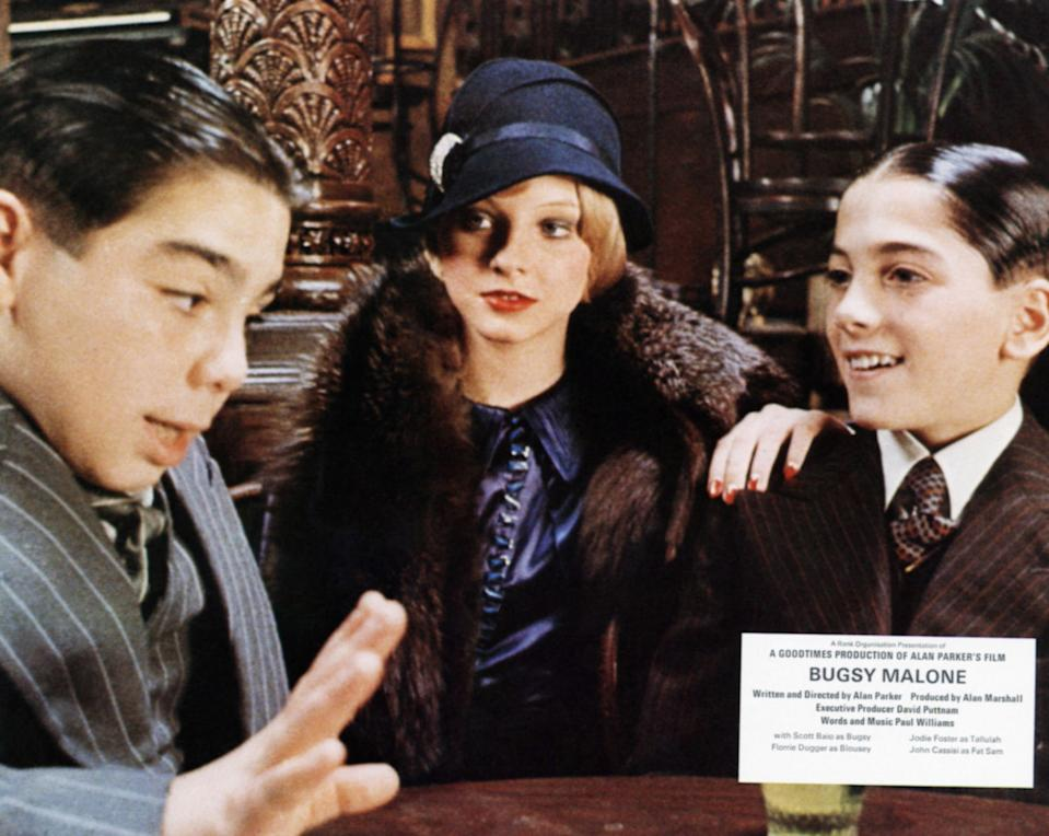 Bugsy Malone, lobbycard, from left: John Cassisi, Jodie Foster, Scott Baip, 1976. (Photo by LMPC via Getty Images)