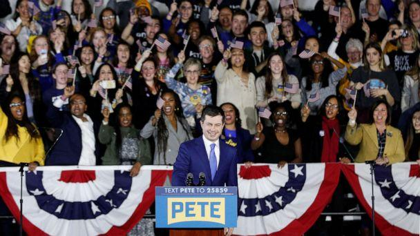 PHOTO: Democratic presidential candidate Pete Buttigieg takes the stage to address supporters during his caucus night watch party on Feb. 03, 2020, in Des Moines, Iowa. (Tom Brenner/Getty Images)