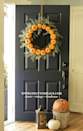 """<p>Hay bales and pumpkins aren't just for your porch—you can hang them on your door, too! Try making a <span class=""""redactor-unlink"""">DIY wreath</span> that you can hang year after year by using <span class=""""redactor-unlink"""">faux pumpkins</span>. </p><p><strong>Get the tutorial at <a href=""""http://www.onsuttonplace.com/circle-pumpkin-wreath/"""" rel=""""nofollow noopener"""" target=""""_blank"""" data-ylk=""""slk:On Sutton Place"""" class=""""link rapid-noclick-resp"""">On Sutton Place</a>. </strong><br></p>"""