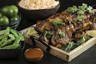 """<p>There's lots of freshness packed into this <a href=""""https://www.thedailymeal.com/18-thai-and-thai-inspired-dinner-recipes?referrer=yahoo&category=beauty_food&include_utm=1&utm_medium=referral&utm_source=yahoo&utm_campaign=feed"""" rel=""""nofollow noopener"""" target=""""_blank"""" data-ylk=""""slk:Thai-inspired"""" class=""""link rapid-noclick-resp"""">Thai-inspired</a> marinade for pork ribs, courtesy of lemongrass and ginger. If you're not a pork fan, this marinade also translates well to chicken thighs.</p> <p><a href=""""https://www.thedailymeal.com/recipes/thai-style-grilled-pork-country-ribs-recipe?referrer=yahoo&category=beauty_food&include_utm=1&utm_medium=referral&utm_source=yahoo&utm_campaign=feed"""" rel=""""nofollow noopener"""" target=""""_blank"""" data-ylk=""""slk:For the Thai-style Grilled Pork Country Ribs recipe, click here."""" class=""""link rapid-noclick-resp"""">For the Thai-style Grilled Pork Country Ribs recipe, click here.</a></p>"""