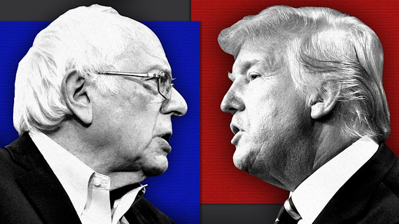 Sen. Bernie Sanders and Donald Trump.(Photo illustration: Yahoo News; photos: Kyle Mazza/Anadolu Agency via Getty Images, Brendan Smialowski/AFP via Getty Images)