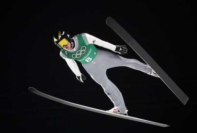 Ski Jumping - Pyeongchang 2018 Winter Olympics - Men's Team Trial round - Alpensia Ski Jumping Centre - Pyeongchang, South Korea - February 19, 2018 - Anze Semenic of Slovenia competes. REUTERS/Dominic Ebenbichler