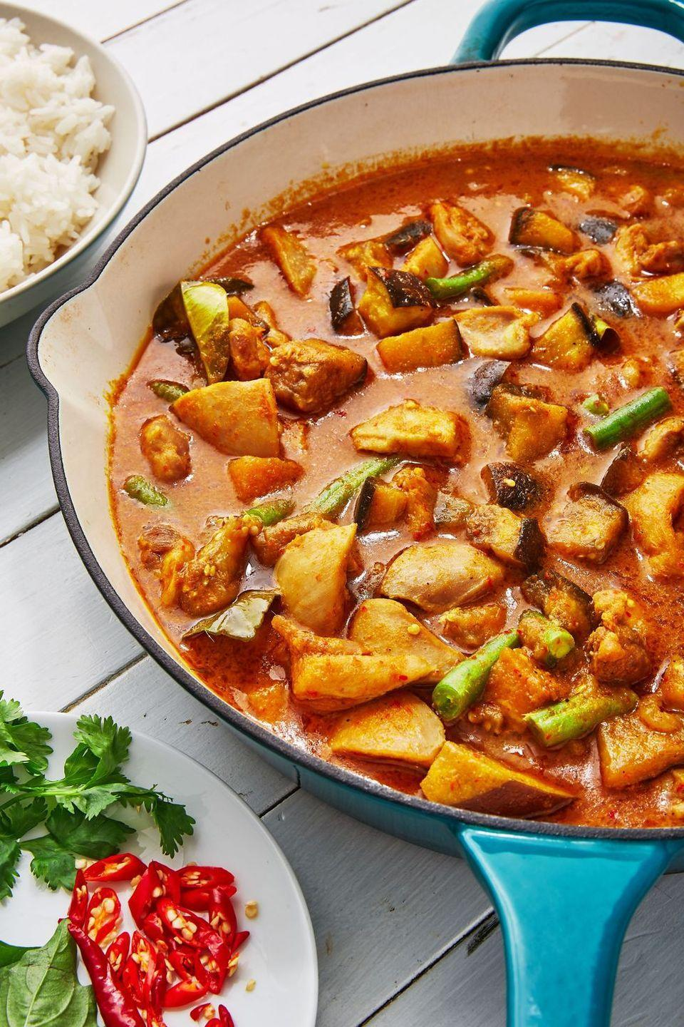"""<p>This Thai Red Curry recipe is SO flavourful and we can't wait to make this recipe everyday for like, the rest of our lives. Yep, it's that good. Packed with all the good stuff: <a href=""""https://www.delish.com/uk/cooking/recipes/a30595799/creamy-chicken-stuffed-peppers-recipe/"""" rel=""""nofollow noopener"""" target=""""_blank"""" data-ylk=""""slk:peppers"""" class=""""link rapid-noclick-resp"""">peppers</a>, <a href=""""https://www.delish.com/uk/food-news/a29424483/freezing-chilli-peppers/"""" rel=""""nofollow noopener"""" target=""""_blank"""" data-ylk=""""slk:chillies"""" class=""""link rapid-noclick-resp"""">chillies</a>, lemongrass, <a href=""""https://www.delish.com/uk/cooking/recipes/a30271089/halloumi-salad/"""" rel=""""nofollow noopener"""" target=""""_blank"""" data-ylk=""""slk:aubergine"""" class=""""link rapid-noclick-resp"""">aubergine</a> and green beans, this recipe is beyond delicious. </p><p>Get the <a href=""""https://www.delish.com/uk/cooking/recipes/a30607284/thai-red-curry/"""" rel=""""nofollow noopener"""" target=""""_blank"""" data-ylk=""""slk:Thai Red Curry"""" class=""""link rapid-noclick-resp"""">Thai Red Curry</a> recipe.</p>"""