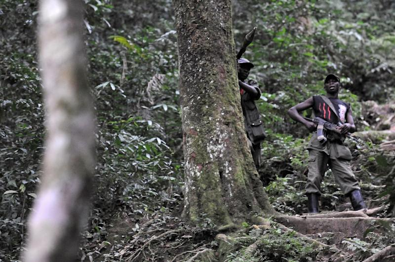 Rwandan Hutu rebels stand guard in a dense forest outside Pinga, 150kms north west of Goma, DR Congo (AFP Photo/Lionel Healing)