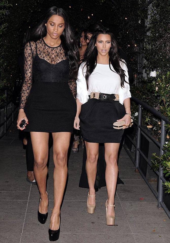 """""""Ride"""" singer Ciara was pretty excited about spending the evening with her BFF Kim and the girls, tweeting, """"Oh yes it's ladies night and I'm feelin right, oh what a night!"""" Jean Baptiste Lacroix/<a href=""""http://www.wireimage.com"""" target=""""new"""">WireImage.com</a> - March 15, 2011"""