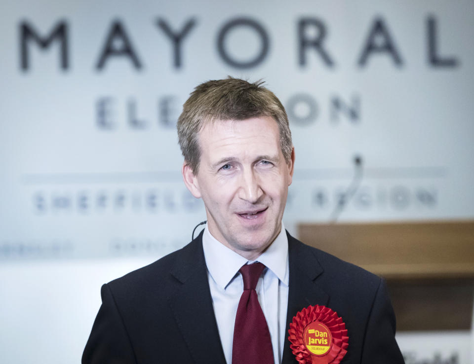 Dan Jarvis during a TV interview after being elected as the Sheffield City Region Mayor following the ballot count at the English Institute of Sport in Sheffield.
