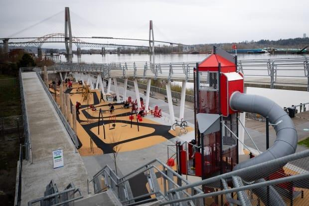 The reopened Westminster Pier Park features a new play area. (Maggie MacPherson/CBC - image credit)