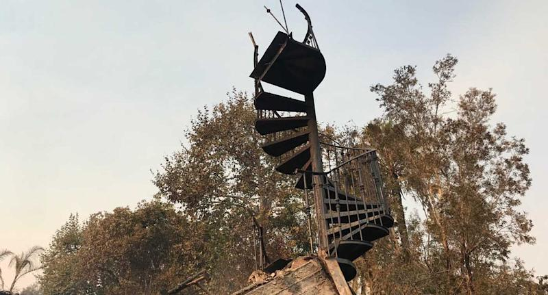 California fires: One of the last things remaining on Neil Johnson and Tracey Birdsall's Malibu property is the spiral staircase. Source: Supplied