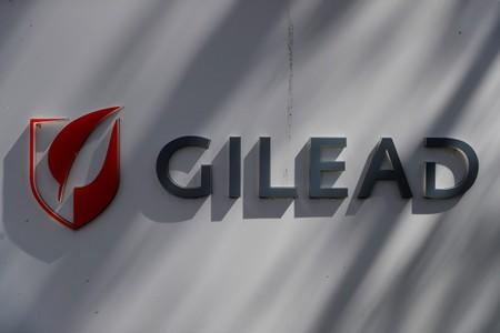 A Gilead Sciences, Inc. logo is seen outside the company headquarters in Foster City, California