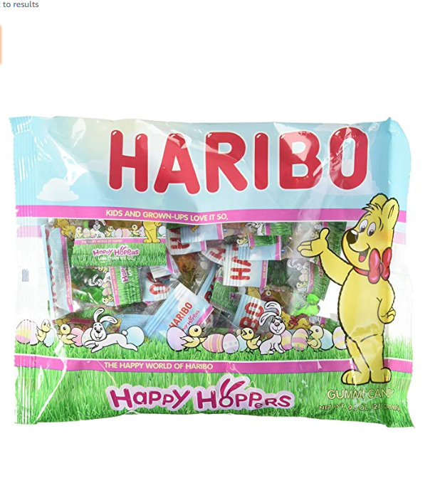 """<p><strong>Haribo</strong></p><p>amazon.com</p><p><strong>$10.88</strong></p><p><a href=""""https://www.amazon.com/dp/B00JBMJZ40?tag=syn-yahoo-20&ascsubtag=%5Bartid%7C10070.g.2201%5Bsrc%7Cyahoo-us"""" rel=""""nofollow noopener"""" target=""""_blank"""" data-ylk=""""slk:SHOP NOW"""" class=""""link rapid-noclick-resp"""">SHOP NOW </a></p><p>Haribo is the king of gummies, so of course they're a great choice for some Easter-inspired chewy treats. </p>"""