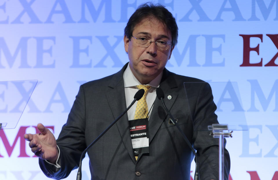 Brazilian energy company Eletrobras President Wilson Ferreira Junior speaks during the 8th Exame Forum 2016, in Sao Paulo, Brazil on September 30, 2016. / AFP / Miguel SCHINCARIOL        (Photo credit should read MIGUEL SCHINCARIOL/AFP via Getty Images)