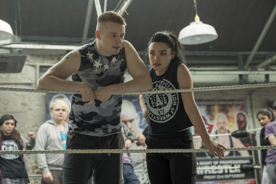 Jack Lowden, left, and Florence Pugh in a scene from Fighting with My Family. (Robert Viglasky/Metro Goldwyn Mayer Pictures via AP)