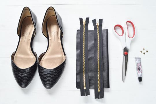 <p>Black pointed flats or heels; faux leather; zippers; flat-dome studs; E6000 glue; fabric scissors</p>